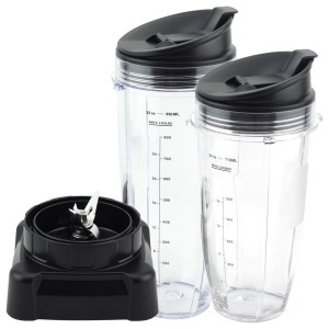 24 oz 32 oz Cups with Sip & Seal Lid and Extractor Blade Replacement Part Compatible with Ninja Professional Blenders BL610 NJ600 NJ600WM