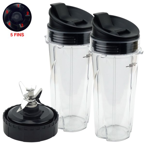 2 Pack 16 oz Cups with Sip & Seal Lid and Pro Extractor Blade Assembly Replacement Part Compatible with Nutri Ninja QB3000 Series 476KKU3000 5 Fins