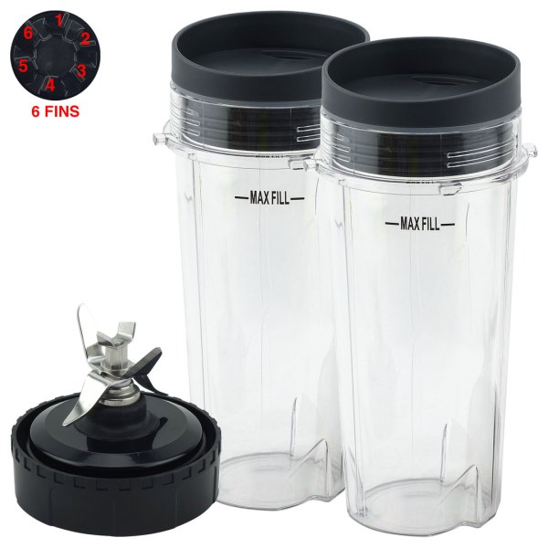 2 Pack 16 oz Cups with To Go Lid and Blade Assembly Replacement Part Compatible with Nutri Ninja BL200 BL201 207KKU 6 Fins