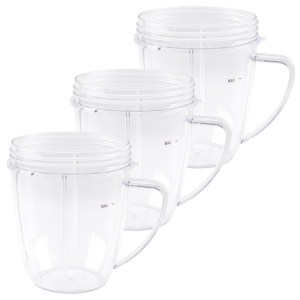 3 Pack 18 oz Short Cup with Handle Replacement Part Compatible with NutriBullet 600W 900W Blenders NB-101B NB-101S NB-201