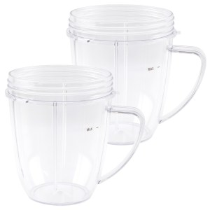 2 Pack 18 oz Short Cup with Handle Replacement Part Compatible with NutriBullet 600W 900W Blenders NB-101B NB-101S NB-201