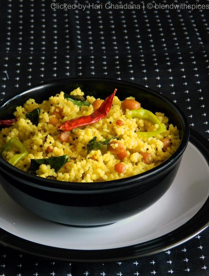 Korra Biyyam Mamidikaya Pulihora ~ Millet with Raw Mango