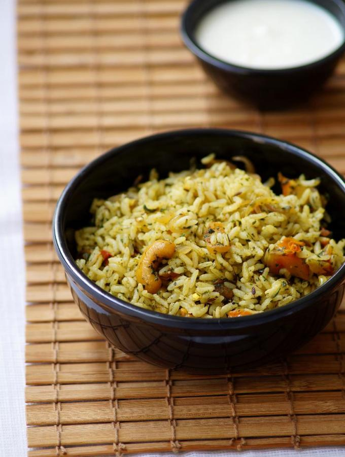 Pudina Rice Recipe – Mint Rice Recipe – Easy Lunch Box Recipes