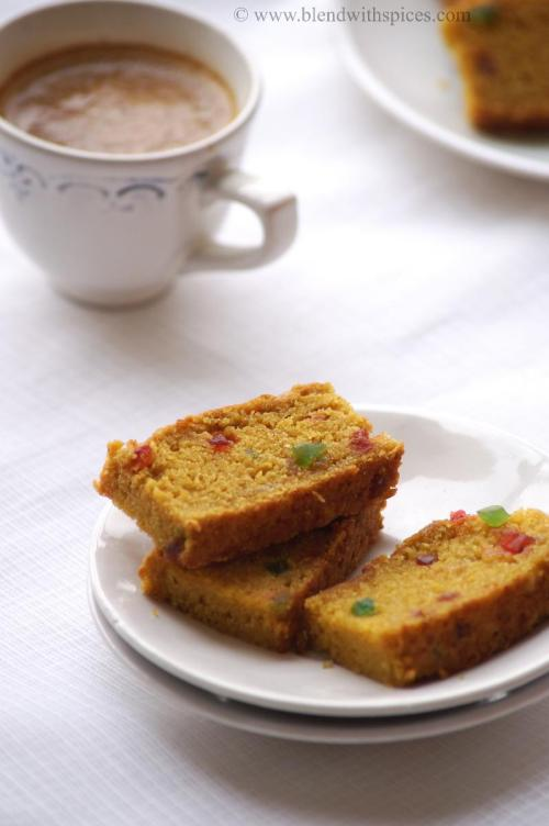 Vegan Mango Candied Fruit cake with wheat flour, how to make vegan cakes, how to make eggless cake