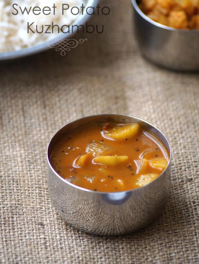 Sweet Potato Kuzhambu Recipe – Sakkaravalli Kizhangu Kulambu Recipe – Tamil Recipes