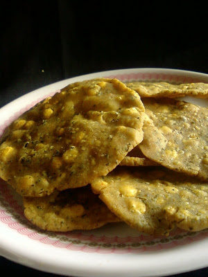Pudina Pappu Chekkalu ~ Mint and Rice Crackers