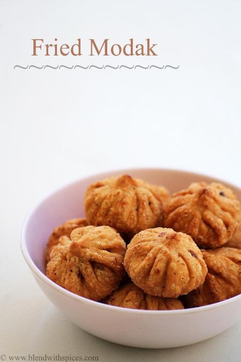 how to make fried modak recipe, fried modak recipe with step by step photos, talniche modak recipe