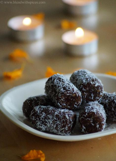 diwali sweets recipes, how to make date coconut rolls
