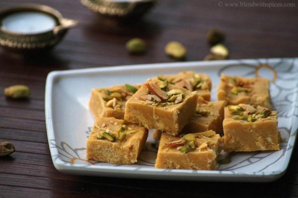 how to make besan milkmaid burfi recipe, easy diwali sweets, indian sweets, easy besan burfi