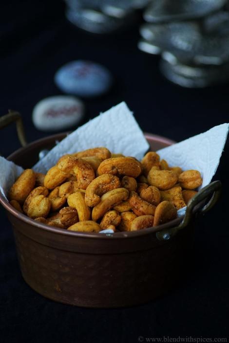 easy diwali snacks, roasted cashew nuts recipe, how to make roasted cashew