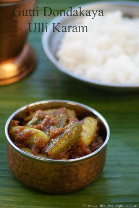 how to make gutti dondakaya ulli karam, stuffed tindora recipe, andhra tindora curry