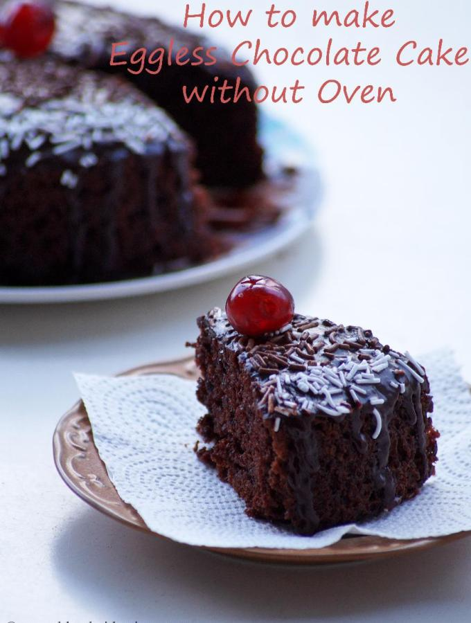Eggless Chocolate Cake Recipe in Pressure Cooker – How to make Eggless Cake without Oven – Step by Step Photos