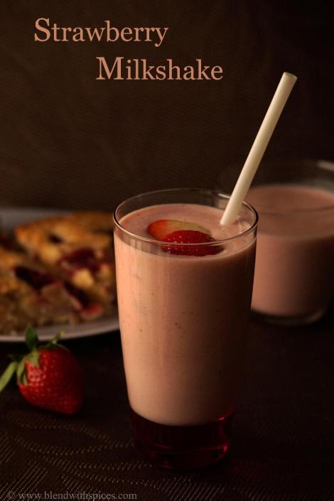 easy strawberry milkshake recipe without ice cream, summer milkshake recipes   blendwithspices.com