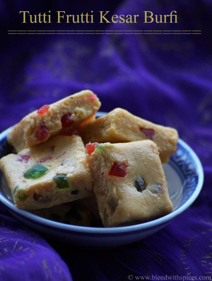 Tutti Frutti Kesar Burfi Recipe – How to make Fruit Kesar Burfi Recipe – Easy Holi Recipes