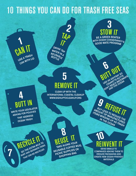 10-things-you-can-do for trash free seas Photo Credit: Ocean Conservancy http://www.oceanconservancy.org/our-work/international-coastal-cleanup/10-things-you-can-do.html