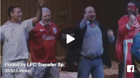 Rafa Benitez dancing on stage during One Night in Istanbul.