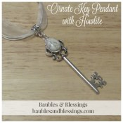 Ornate Key Pendant with Howlite