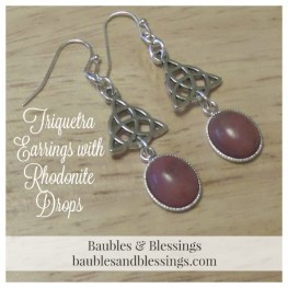 Triquetra Earrings with Rhodonite Drops