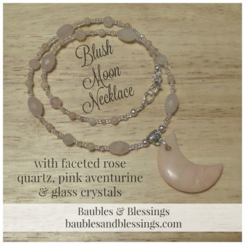 Blush Moon Necklace with Faceted Rose Quartz, Pink Aventurine & Glass Crystals