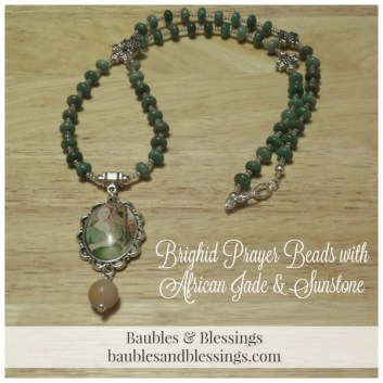 Brighid Prayer Beads with African Jade, Sunstone, Even-Armed Solar Crosses & Art Pendant by Jo Jayson
