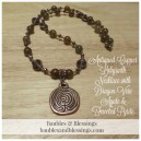 Antiqued Copper Labyrinth Necklace with Dragon Vein Agate & Faceted Pyrite