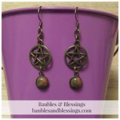 Bronze Pentagram Earrings with Unakite Cabochons