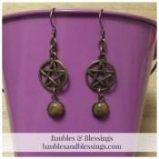 Bronze Pentagram Earrings with Unakite Cabochons