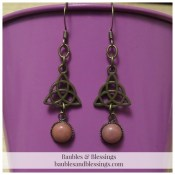 Bronze Triquetra Earrings with Rhodonite Cabochons