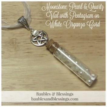 Moonstone, Pearl & Quartz Vial with Pentagram on White Organza Cord