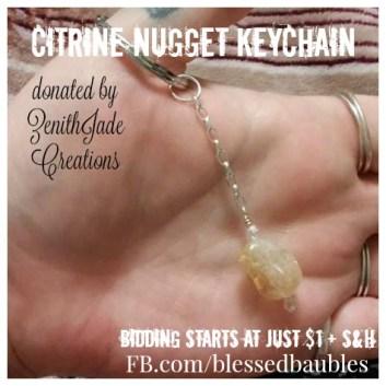 Citrine Nugget Keychain