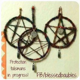 Pentagram Protection Talismans with Recycled Rainbow Sari Silk Yarn
