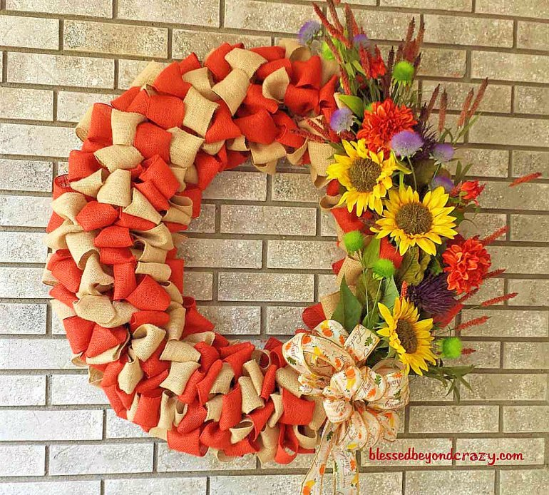DIY Fall Burlap Wreath 3