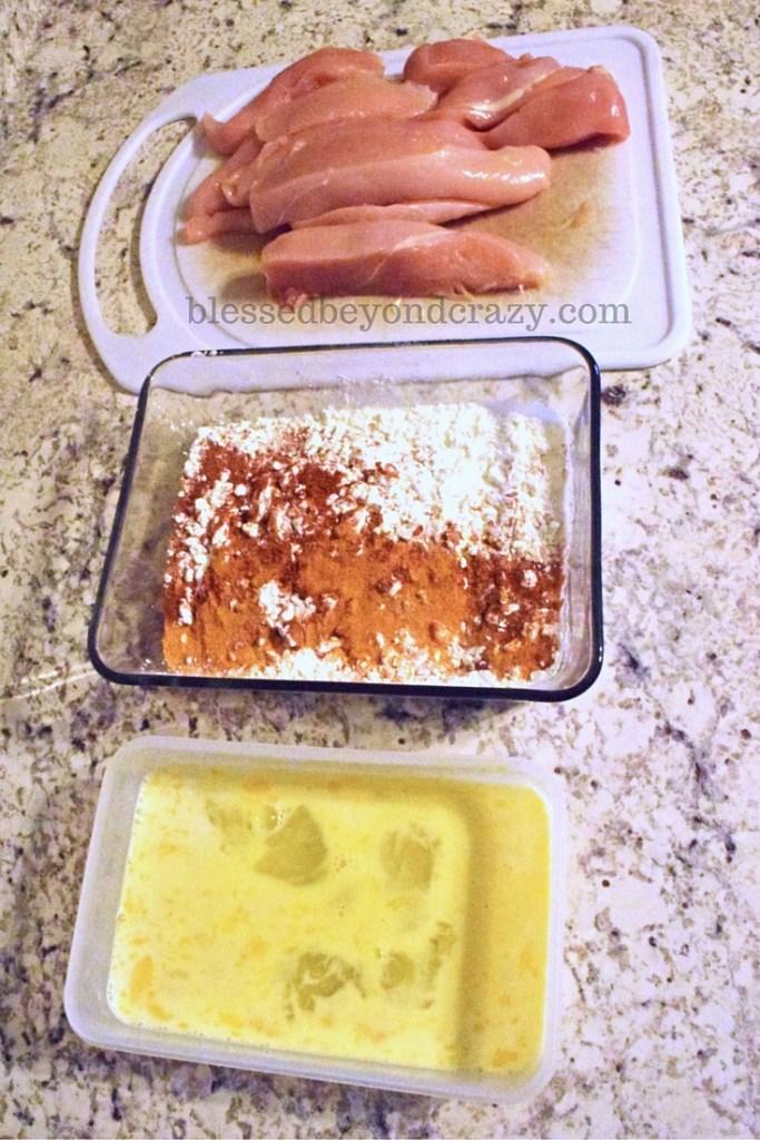 fried chicken prep