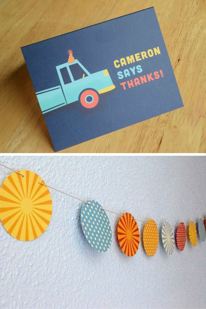garland and personalized thank you card
