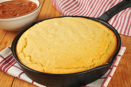 fresh baked cornbread in a cast iron skillet