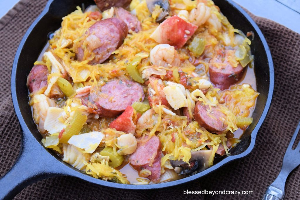Low-Carb Spaghetti Squash Cajun Seafood Jambalaya