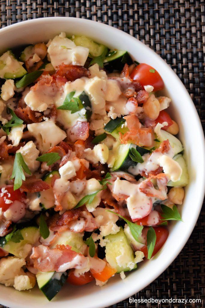 Gluten-Free Veggie Bacon Feta Salad with dressing