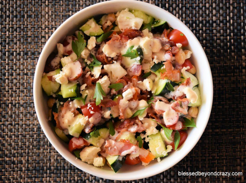 Potluck Gluten-Free Veggie Bacon Feta Salad