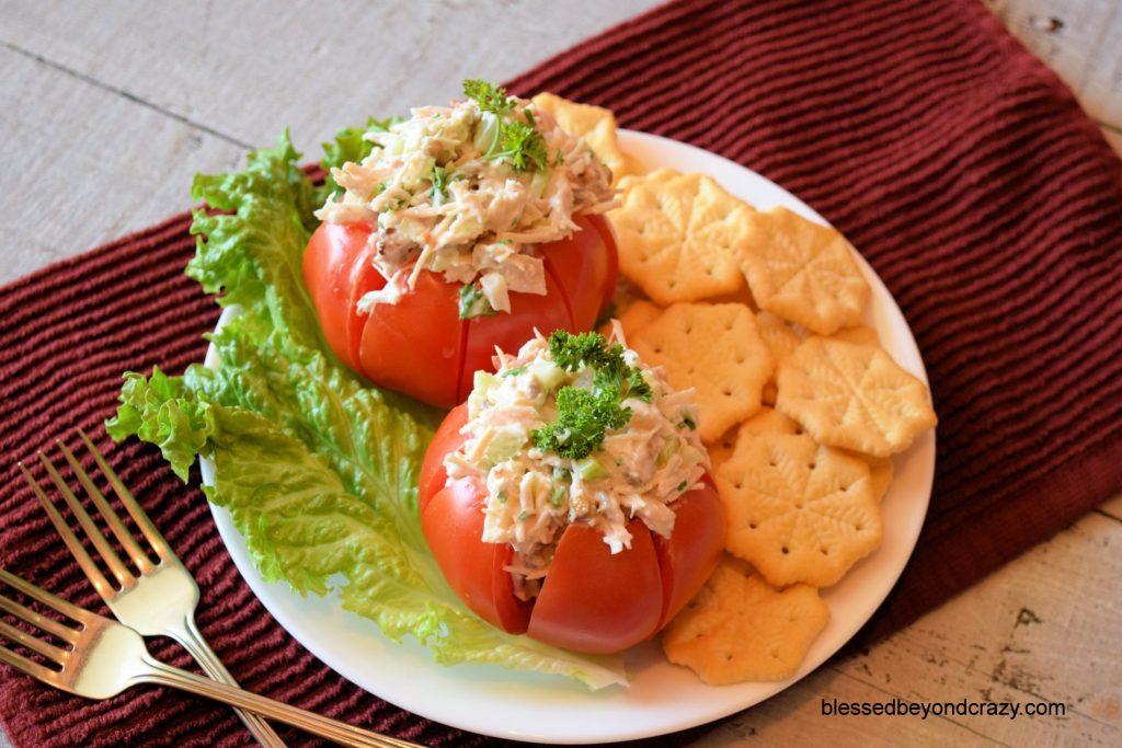Rustic Chicken Salad Stuffed Tomatoes