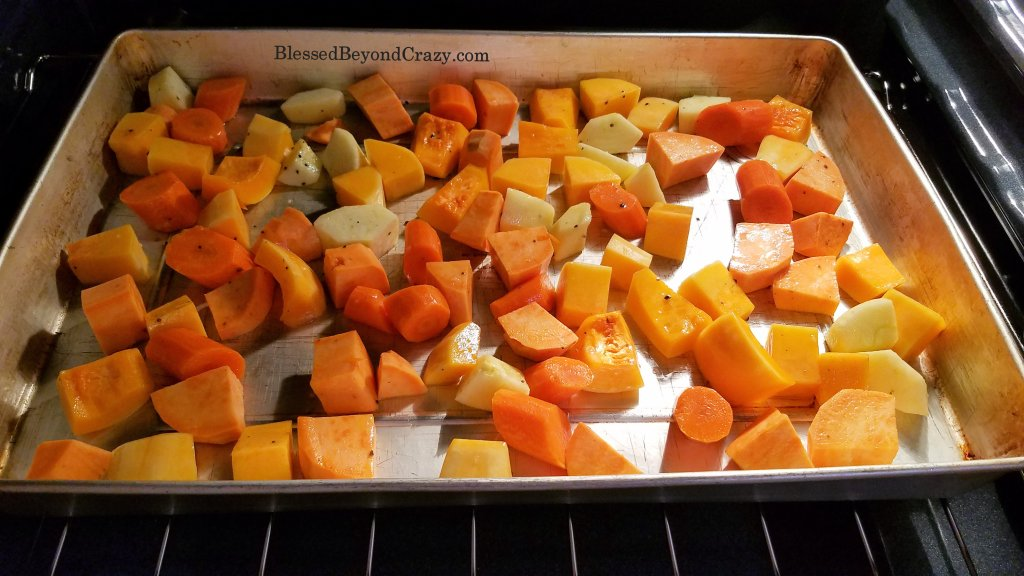 Oven view of Healthy Sheet Pan Roasted Vegetables
