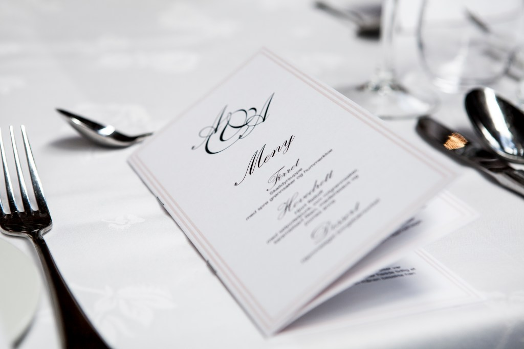 Romantic DIY Wedding menu