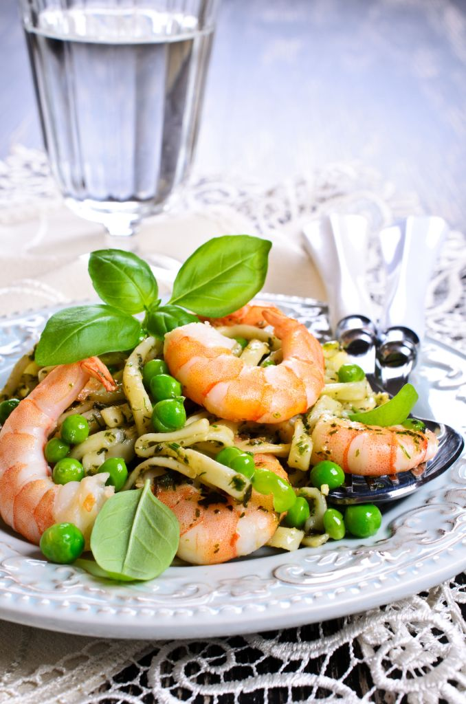 Serving of Shrimp Pasta Meal