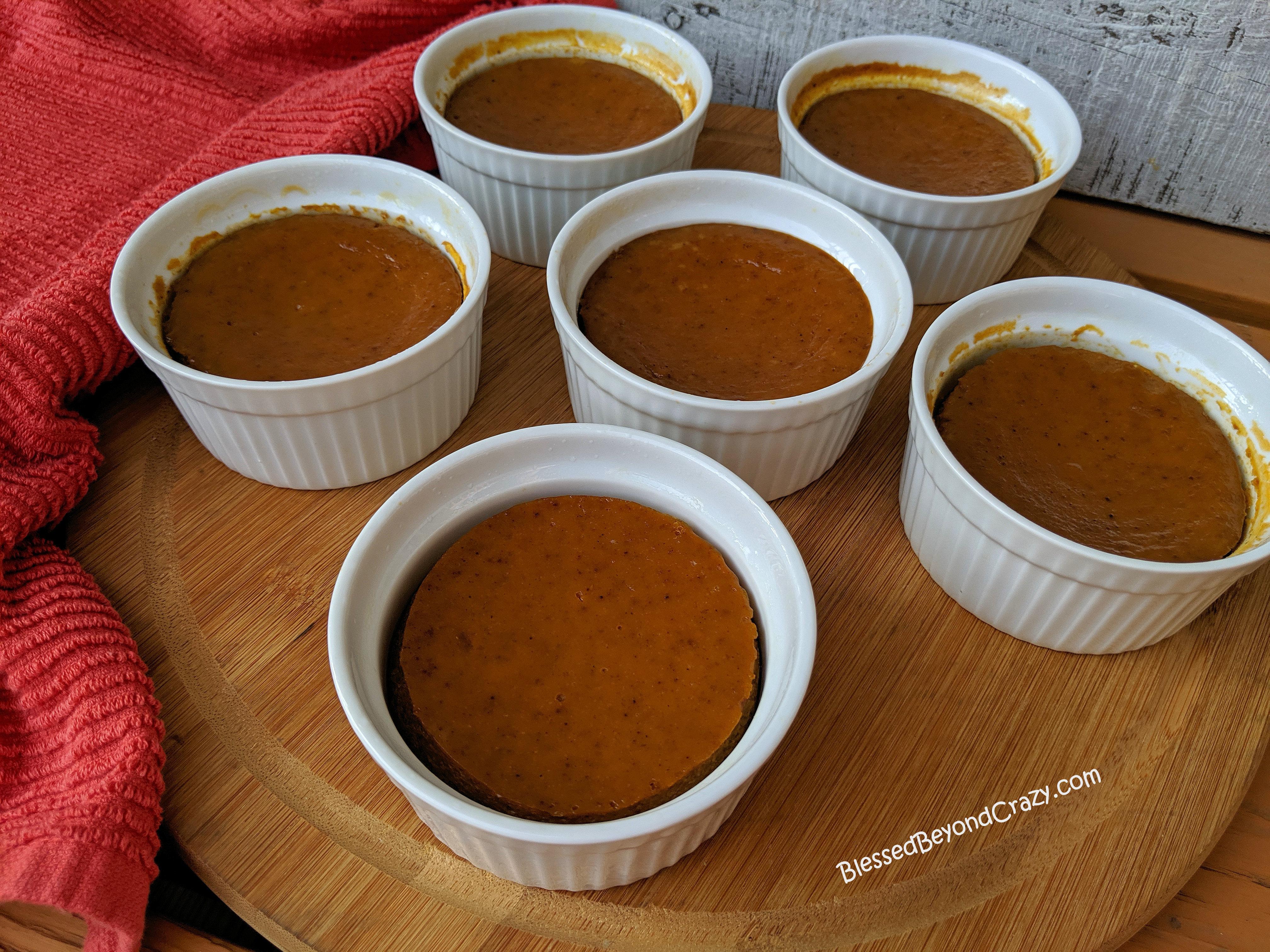 Six Mini Lite Maple Pumpkin Crustless Pies ready to enjoy!