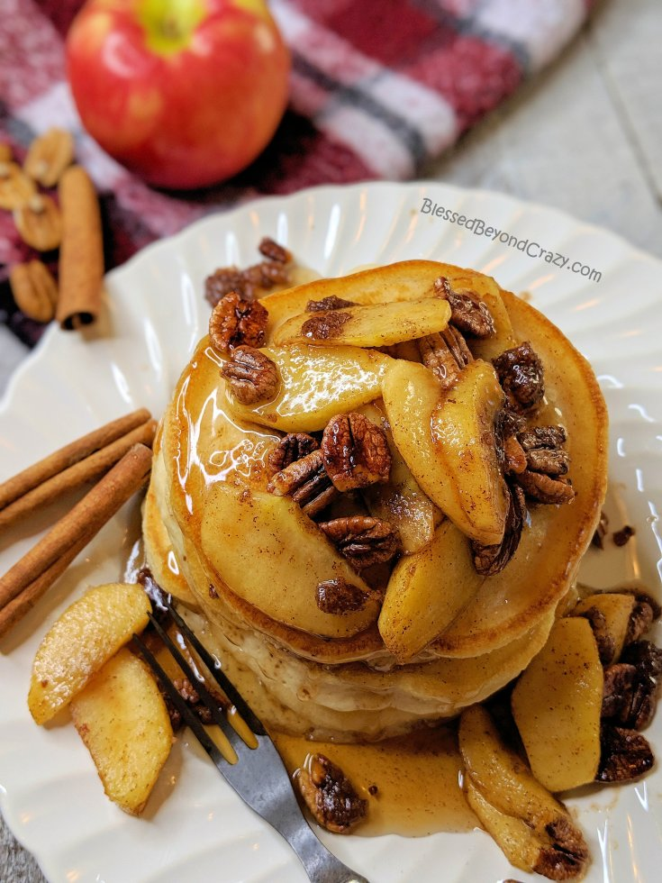 Sticky Cinnamon Apple Pecan Pancakes