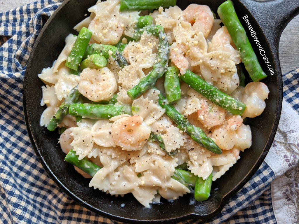 Overhead view of Creamy Asparagus Shrimp Pasta Skillet (Gluten-Free)