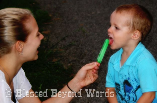 Ashley and Gage with Popsicle