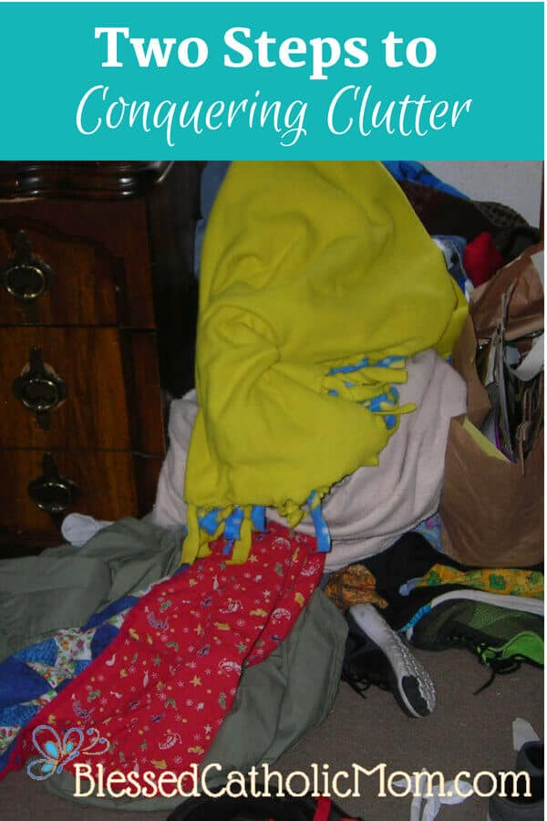 Two steps to conquering clutter is all you need: put things away when you are done with them and pick up what got left out. Image of clutter in a child's room.