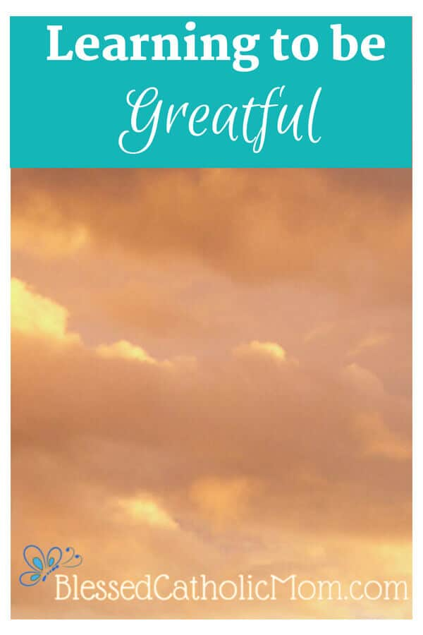 Learn to be greatful for things in life. Image of a orangish, cloudy evening sky.