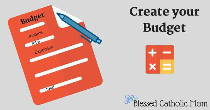 Create a budget sheet to log and track your income and expenses. Image graphic of a sheet with income and expenses to log, a blue pen beside it, and beside that is a graphic of addition, subtraction, multiplication, and division symbols.