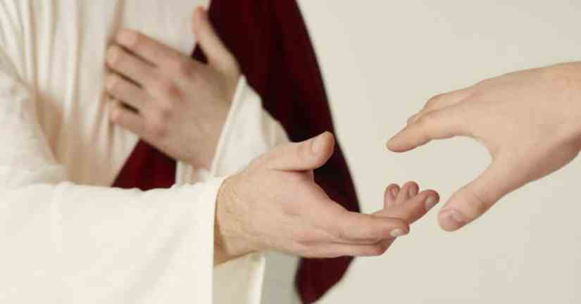 No matter how grief affects us or how we deal with it, it is important not to leave God out of our lives while we go through a period of grief. Lean on God; He is always here for us. Image of a person representing Jesus holding out his hand to a person who is holding out his hand to Jesus.